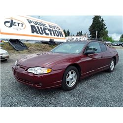 E1---2005 CHEV MONTE CARLO LS COUPE, RED, 146,123 KMS