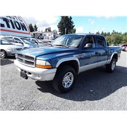 F6---2003 DODGE DAKOTA SLT TRUCK, BLUE, 226,117 KMS