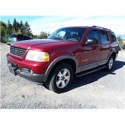 I4---2002 FORD EXPLORER SUV, RED, 210,301 KMS