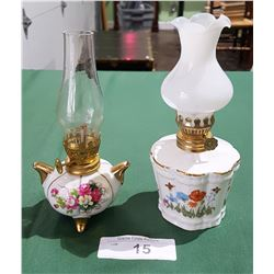 2 VINTAGE PORCELAIN OIL LAMPS