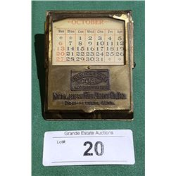 1920'S NORTHWESTERN FUEL SUPPLY CO. METAL DESKTOP CALENDAR