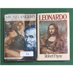 2 HARDCOVER MICHELANGELO & LEONARDO BIOGRAPHY BOOKS