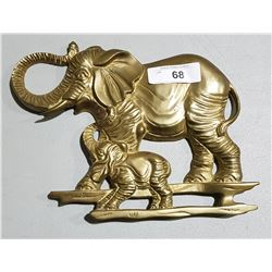 VINTAGE BRASS ELEPHANT WALL PLAQUE
