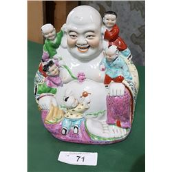 "CERAMIC BUDDHA W/CHILDREN ""GOOD LUCK WITH STARTING A FAMILY"" STATUE"