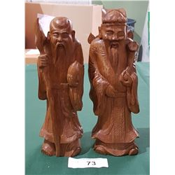 2 CARVED WOOD ASIAN FIGURES