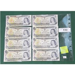EIGHT 1973 CANADIAN DOLLAR BILLS