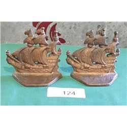 PAIR VINTAGE CAST IRON SHIP BOOKENDS