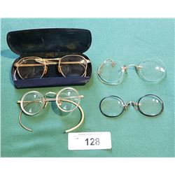 4 PAIRS VINTAGE/ANTIQUE EYE GLASSES