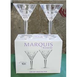 PAIR WATERFORD CRYSTAL MARTINI GLASSES