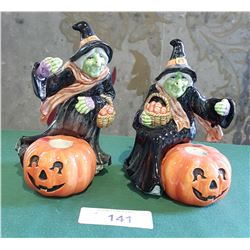 PAIR FITZ & FLOYD WITCH CANDLE HOLDERS