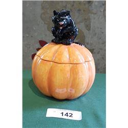 FITZ & FLOYD BLACK CAT ON PUMPKIN LIDDED CANDY DISH