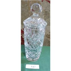 UNUSUAL PINWHEEL CRYSTAL LIDDED VASE