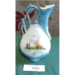 VICTORIAN PORCELAIN PITCHER W/GIRL PLAYING THE FLUTE