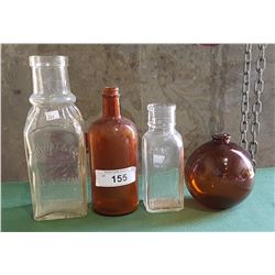 4 PCS ANTIQUE GLASS
