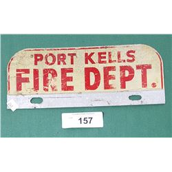 PORT KELLS FIRE DEPT. LICENSE PLATE TOPPER