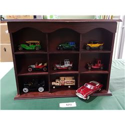 DISPLAY CABINET W/9 DIE CAST CARS