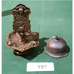 VINTAGE RECEPTION BELL & ORNATE HEAVY COPPER MATCHBOX HOLDER