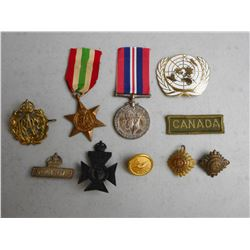 ASSORTED WWII MEDALS & PINS