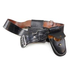 LEATHER BELT WITH HANDCUFFS & HOLSTER