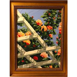 20thc Signed Impressionist Oil Painting, Southern Rose Covered Trellis
