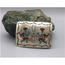 Turquoise and Coral Inlay Belt Buckle