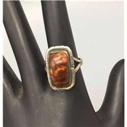 Mid-Century Fire Agate and Sterling Ring