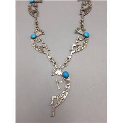 Turquoise and Sterling Silver Kokopelli Necklace