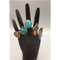 Group of 5 Vintage Turquoise and Coral Rings