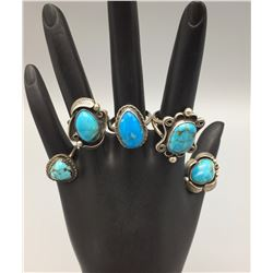 Group of 5 Vintage Turquoise Rings