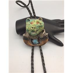"""Carved Turquoise """"Bear"""" Bolo"""