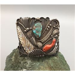 Vintage Turquoise, Coral and Carved Abalone Bracelet