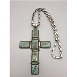 Turquoise and Sterling Cross with Chain