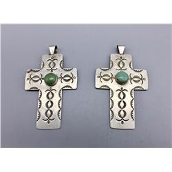 2 Turquoise and Sterling Silver Cross Pendants