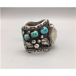 Large Vintage Watch Bracelet with Turquoise Cabochons
