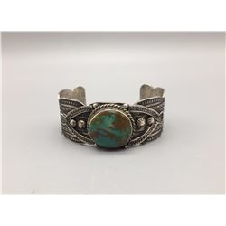 Turquoise, Hand Stamped Bracelet