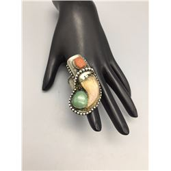 Bear Claw Turquoise and Coral Ring