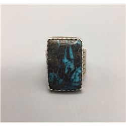 Nice Blue Turquoise and Sterling Ring