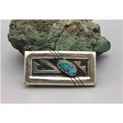 Vintage Sterling and Turquoise Belt Buckle