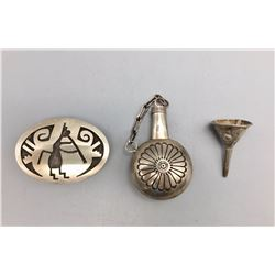 Sterling Silver Flask, Funnel, and Pill Box