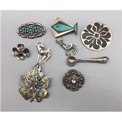 Group of Vintage Sterling Silver Pins