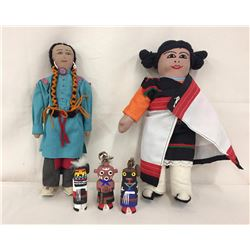 2 Dolls and 3 Route 66 Kachinas