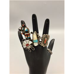 5 Vintage Zuni and Navajo Rings