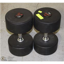 PAIR OF COMMERCIAL GRADE DUMBBELLS 75LBS
