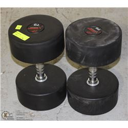 PAIR OF COMMERCIAL GRADE DUMBBELLS 70LBS