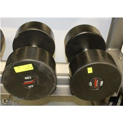 PAIR OF COMMERCIAL DUMBELLS 100LBS