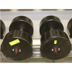 PAIR OF COMMERCIAL DUMBELLS 95LBS