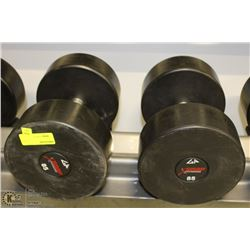 PAIR OF COMMERCIAL DUMBELLS 85LBS