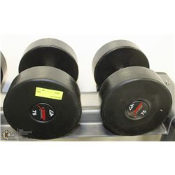 PAIR OF COMMERCIAL DUMBELLS 75LBS