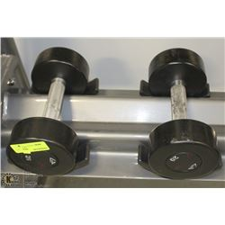 PAIR OF COMMERCIAL DUMBELLS 20LBS