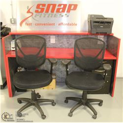DESK WITH 2 CHAIRS AND OFFICE SUPPLIES